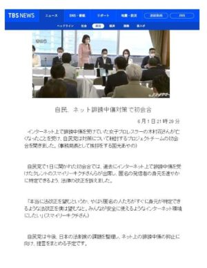 TBS NEWS_2020年6月1日掲載【自民、ネット誹謗中傷対策で初会合】